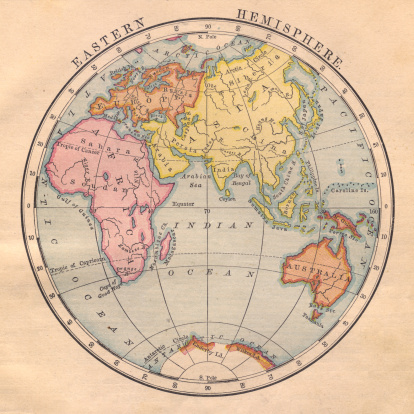 Old Color Map Of The Eastern Hemisphere From 1870 Stock Photo - Download Image Now