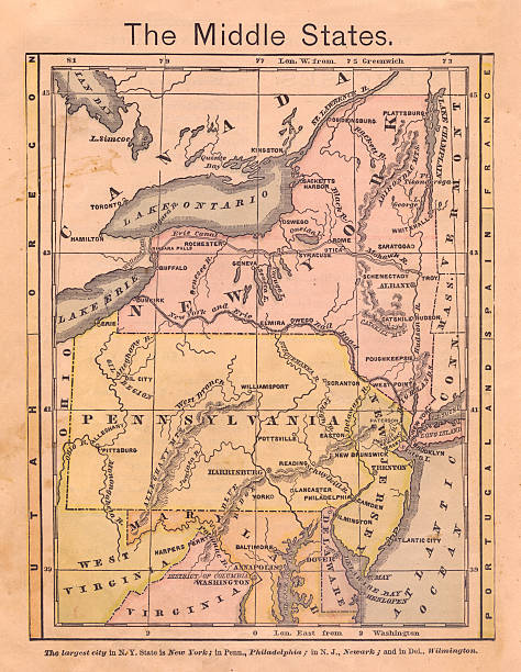 1867, alten farbe karte des nahen (vereinigte staaten) - karten de stock-fotos und bilder