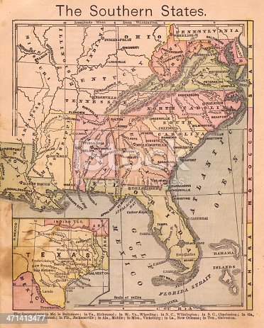 Color image of an old map of the Southern (United) States, from the 1800's.