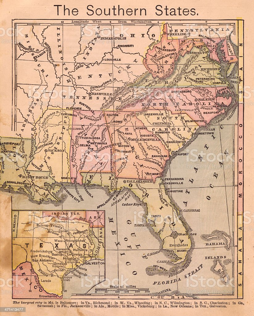 1867, Old, Color Map of the Southern (United) States stock photo
