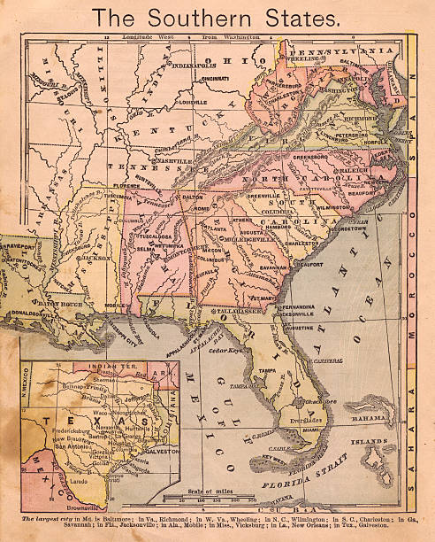 1867, old, color map of the southern (united) states - tennessee map stock photos and pictures