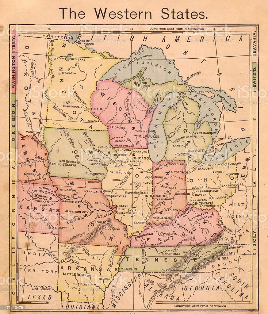 1867, Old, Color Map of the Western United States stock photo