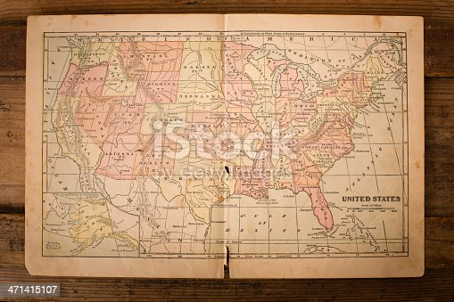 istock 1867, Old, Color Map of United States, Sitting on Wood 471415107