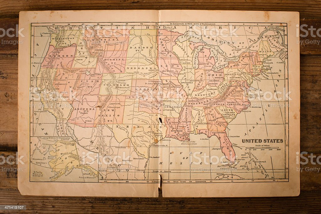 1867, Old, Color Map of United States, Sitting on Wood stock photo