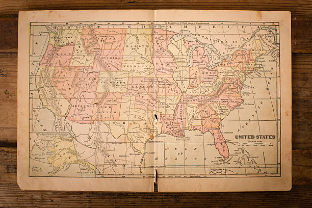 1867, old, color map of united states, sitting on wood - tennessee map stock photos and pictures