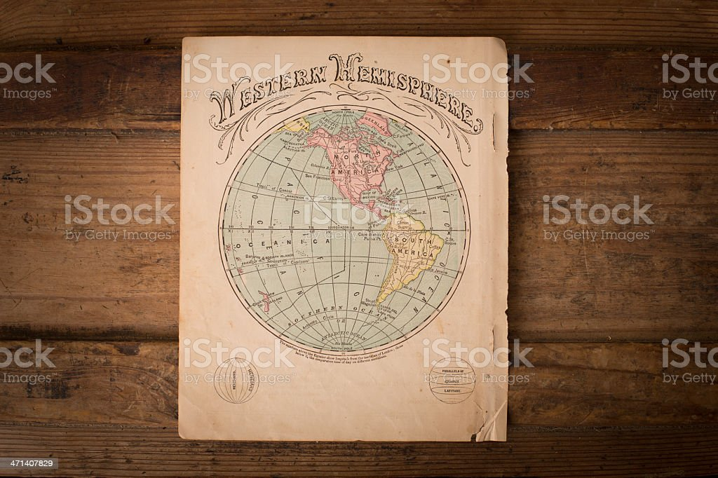 Old, Color Map of Western Hemisphere, on Wood, From 1867 royalty-free stock photo