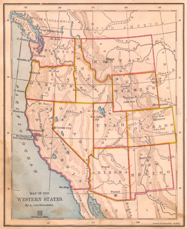 Color image of an old map of the Western United States, from the 1800's.