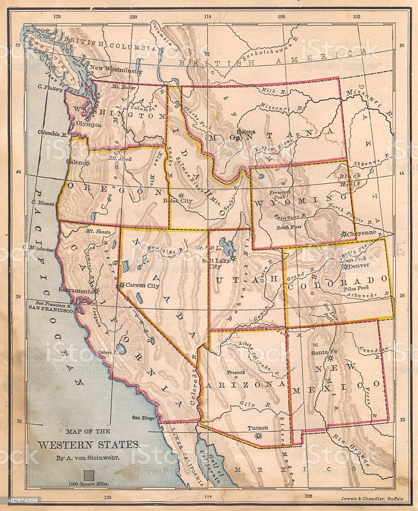 Old, Color Map of Western United States, From 1800's stock photo