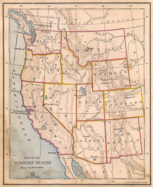 old, color map of western united states, from 1800's - montana western usa stock pictures, royalty-free photos & images