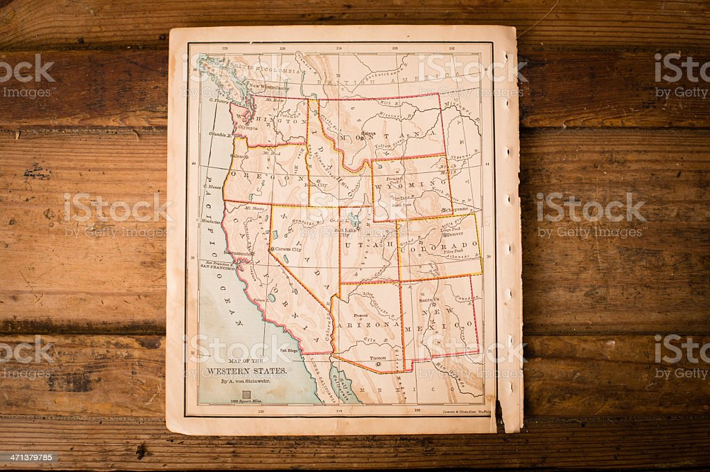 Old, Color Map of Western United States, Sitting on Trunk stock photo