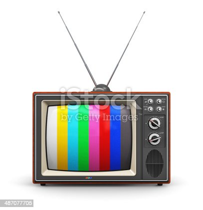 istock Old color TV 487077705