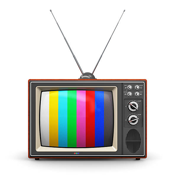 Old color TV stock photo