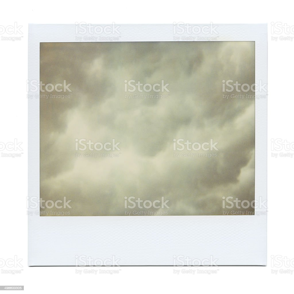 Old Colorful Polaroid Photo, Clouds stock photo