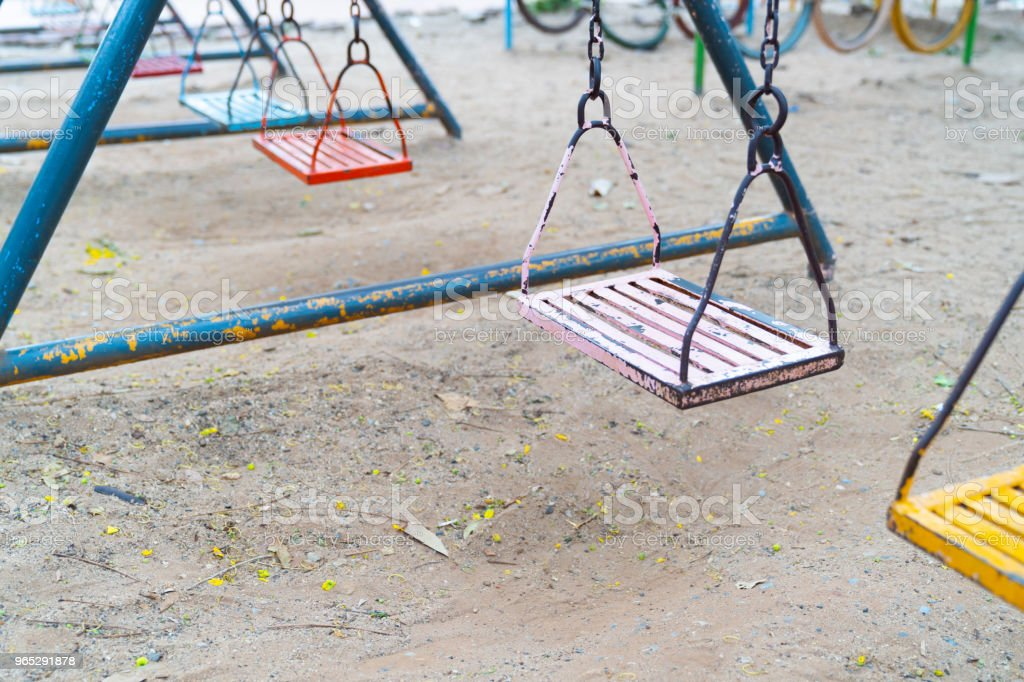 Old colorful swing. royalty-free stock photo