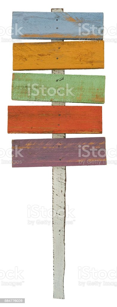 Old colourful weathered wood signboards . stock photo
