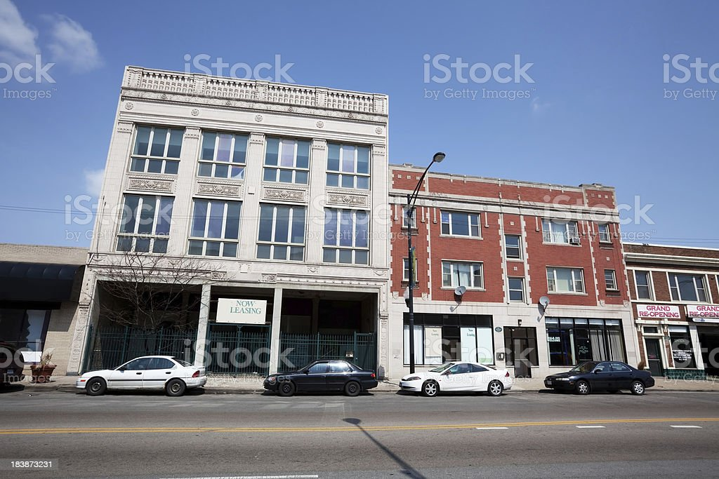 Old Commercial Buildings in Chicago Lawn royalty-free stock photo