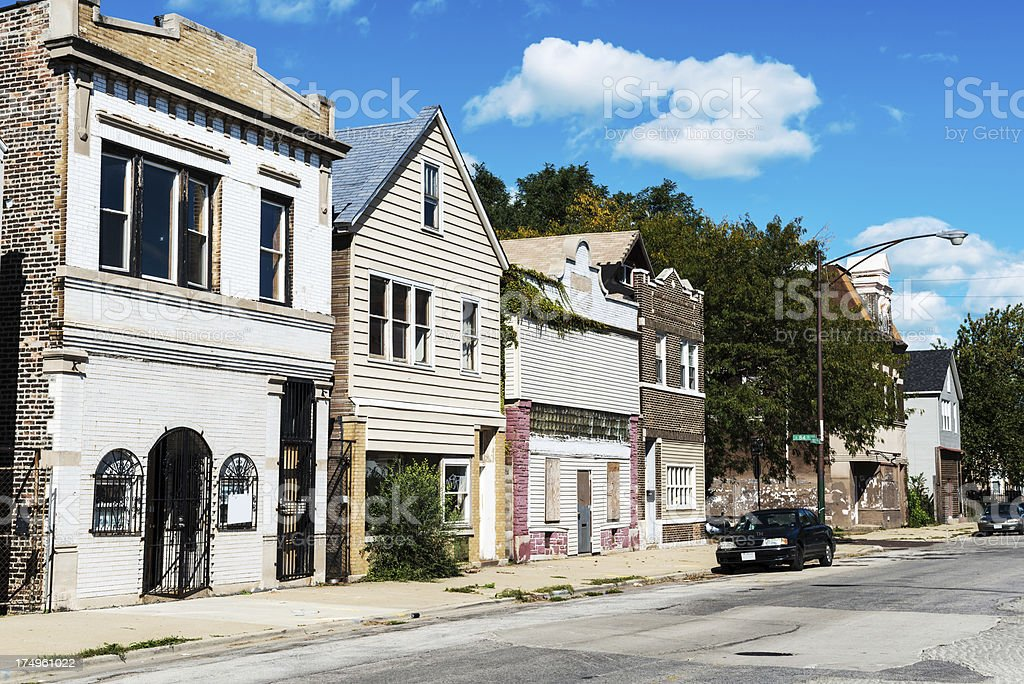 Old commercial buildings on Burley Avenue, South Chicago royalty-free stock photo