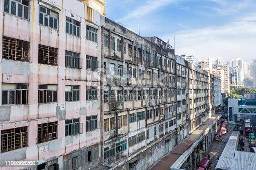 Old community, apartment building at Kwun Tong, Hong Kong