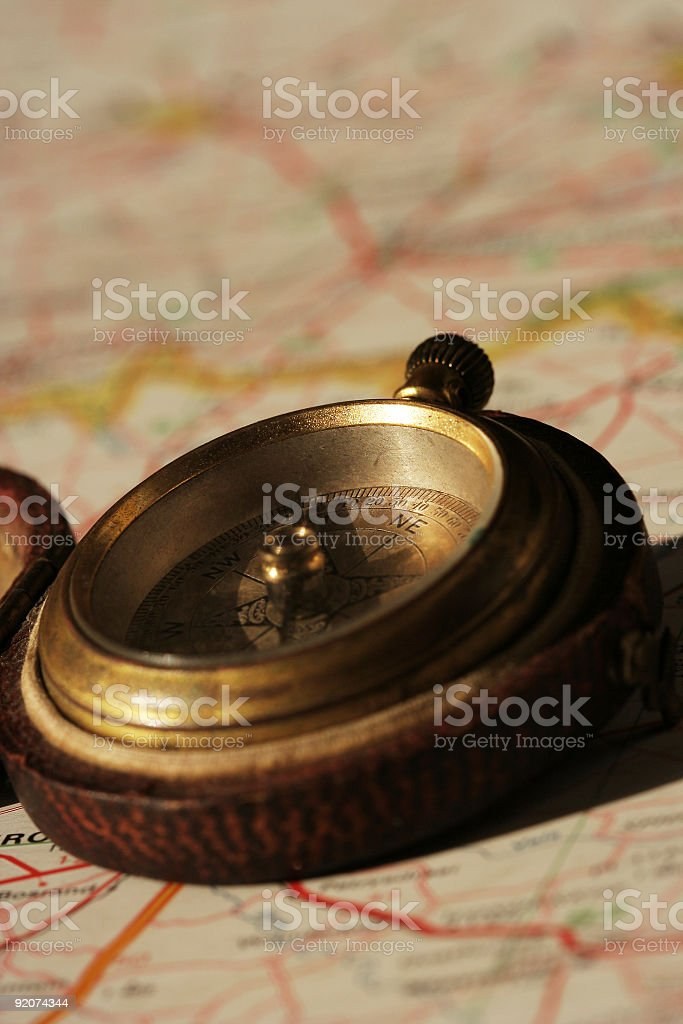 Old Compass on a Map royalty-free stock photo