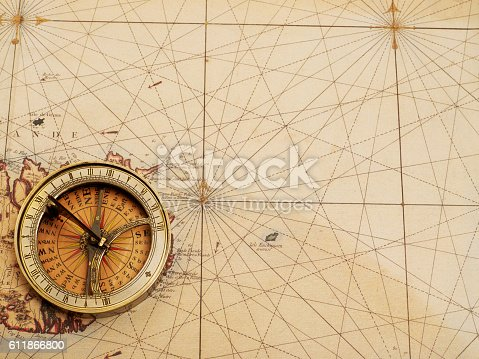 Old compass over ancient map from XVIII century