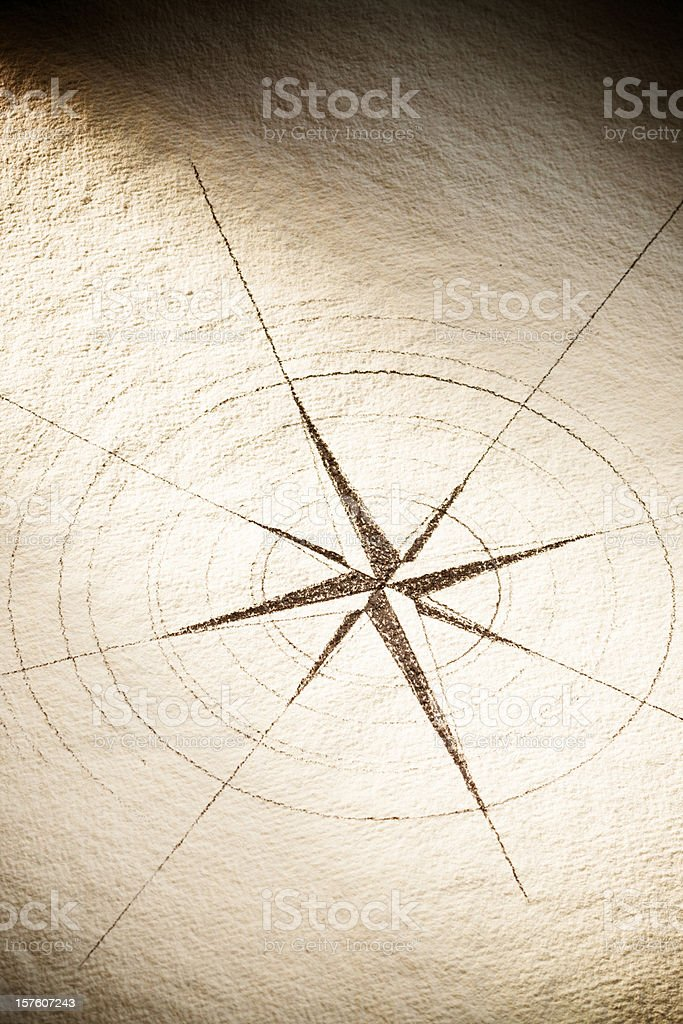 Old Compass Rose on Handmade Paper royalty-free stock photo
