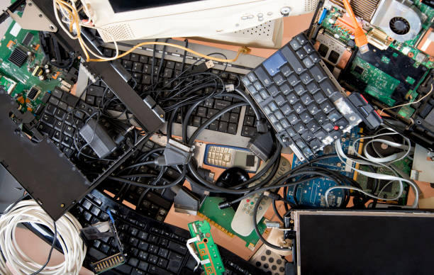 Old computer and electronic waste. Recycling concept stock photo