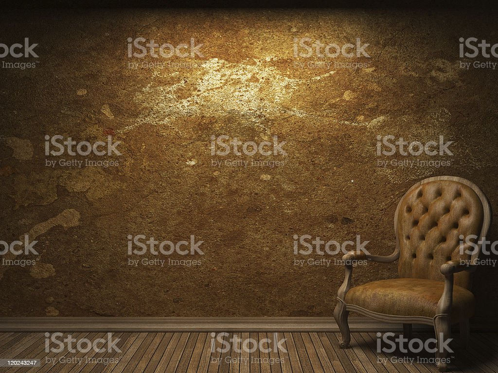 old concrete wall and chair royalty-free stock photo