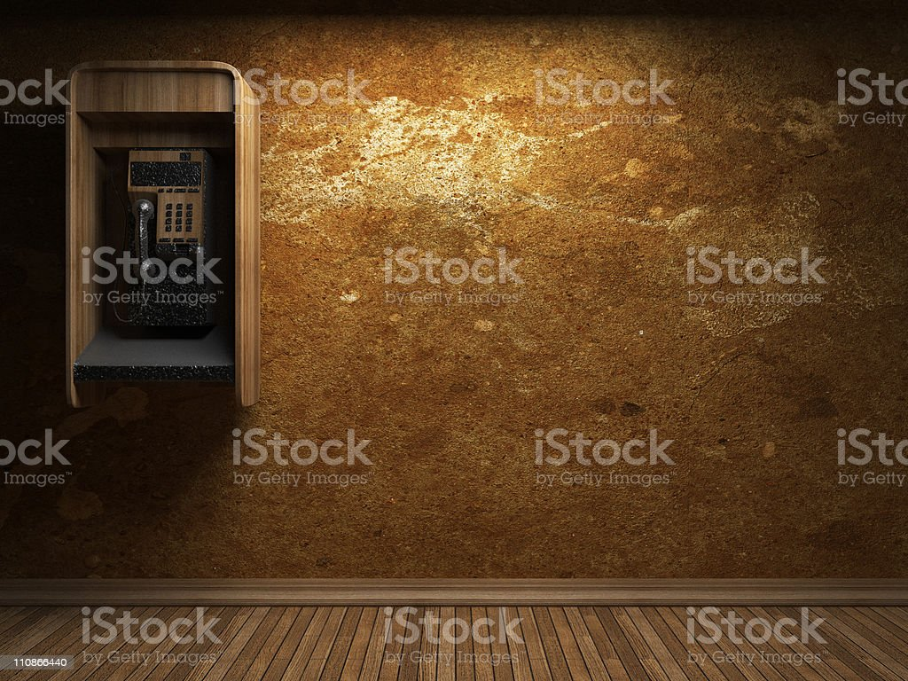 old concrete wall and telephone booth royalty-free stock photo