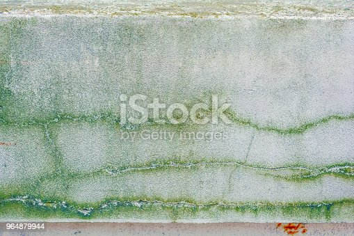 Old Concrete Wall With Long Cracks And Moss Stock Photo & More Pictures of Blank