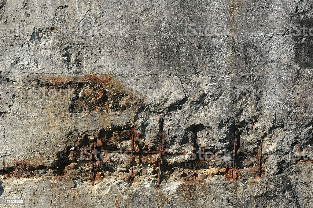 old concrete wall with rusty wire royalty-free stock photo