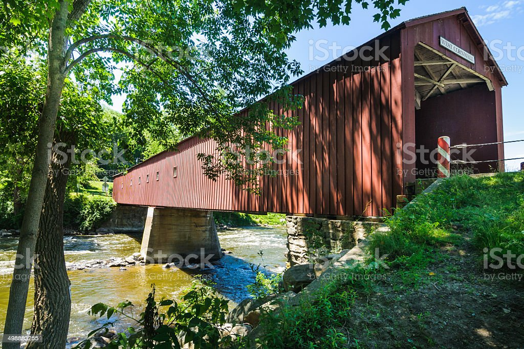 Old Connecticut Covered Bridge stock photo