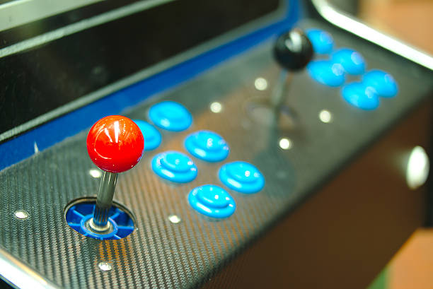 Old console joysticks. stock photo