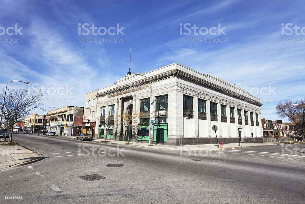 Old Converted Neoclassical Bank Building in West Englewood, Chic royalty-free stock photo