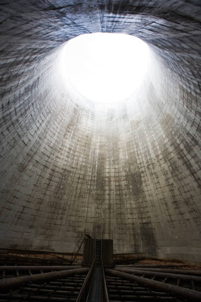 Old cooling tower in the power plant stock photo