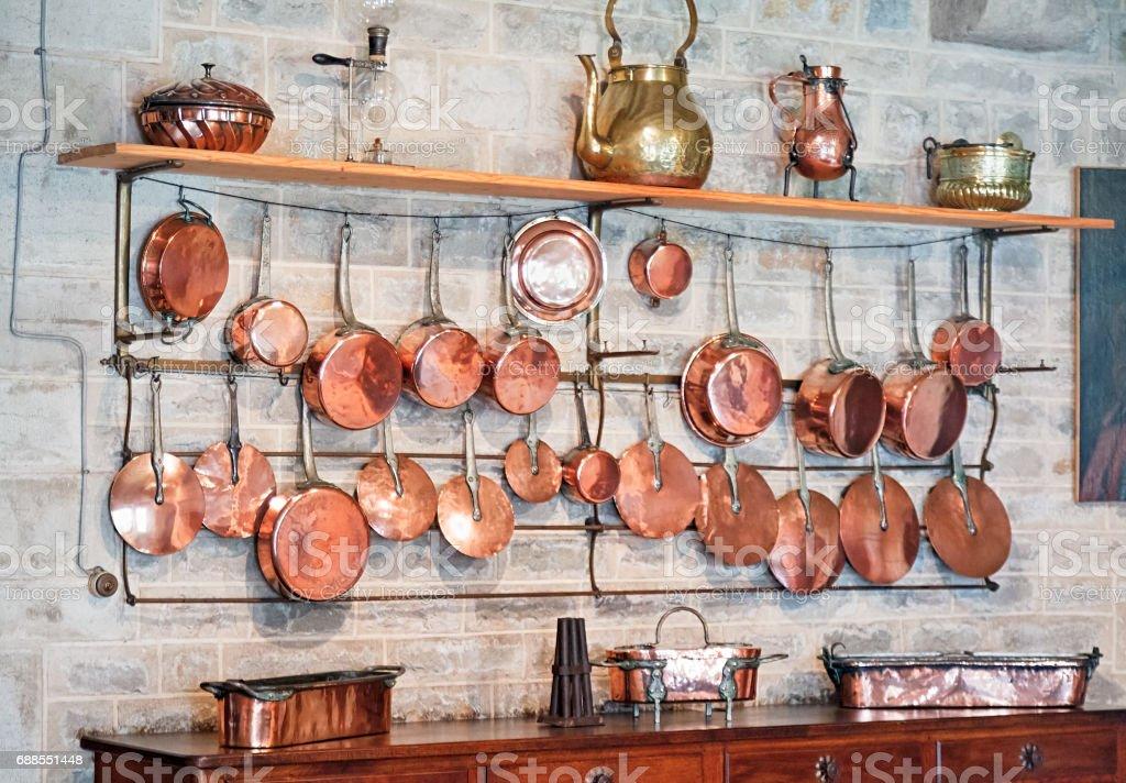 Old copper kitchenware interior stock photo