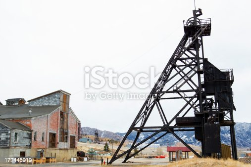 Old copper mine in Butte, Montana, USA.