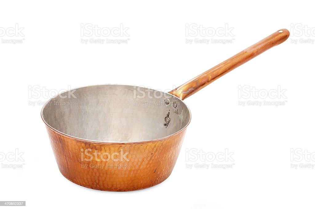 Old Copper saucepan stock photo
