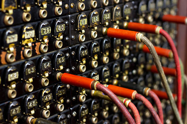 Old Cord Switchboard stock photo