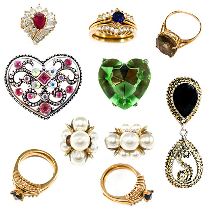 Collection of old costume jewelry.