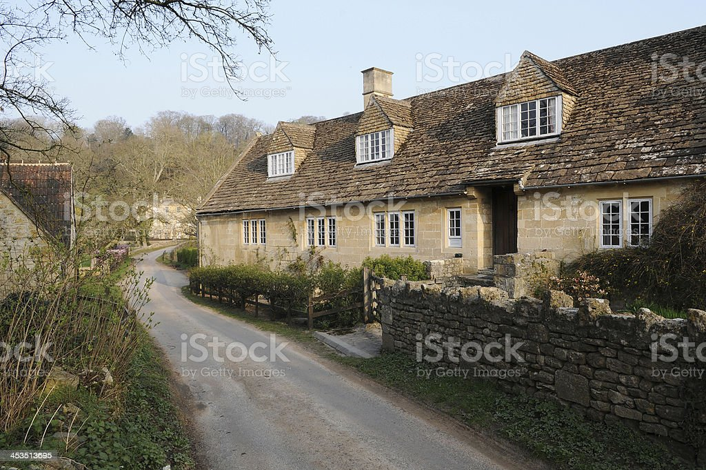 Old Cottage and Country Road royalty-free stock photo