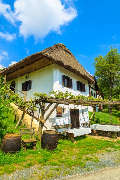 altes landhaus in ländlichen gegend von burgenland - burgenland stock-fotos und bilder