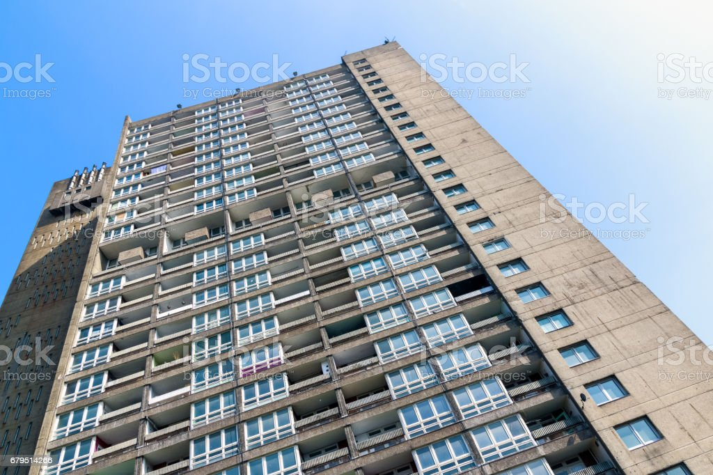 Old council housing block, Balfron Tower, in East London stock photo