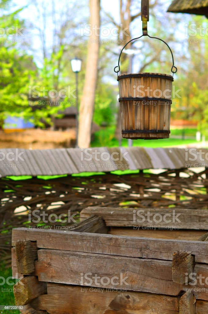 Old countryside water well stock photo