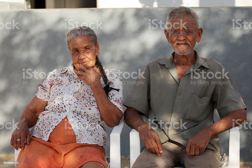 Old couple in Brazil stock photo