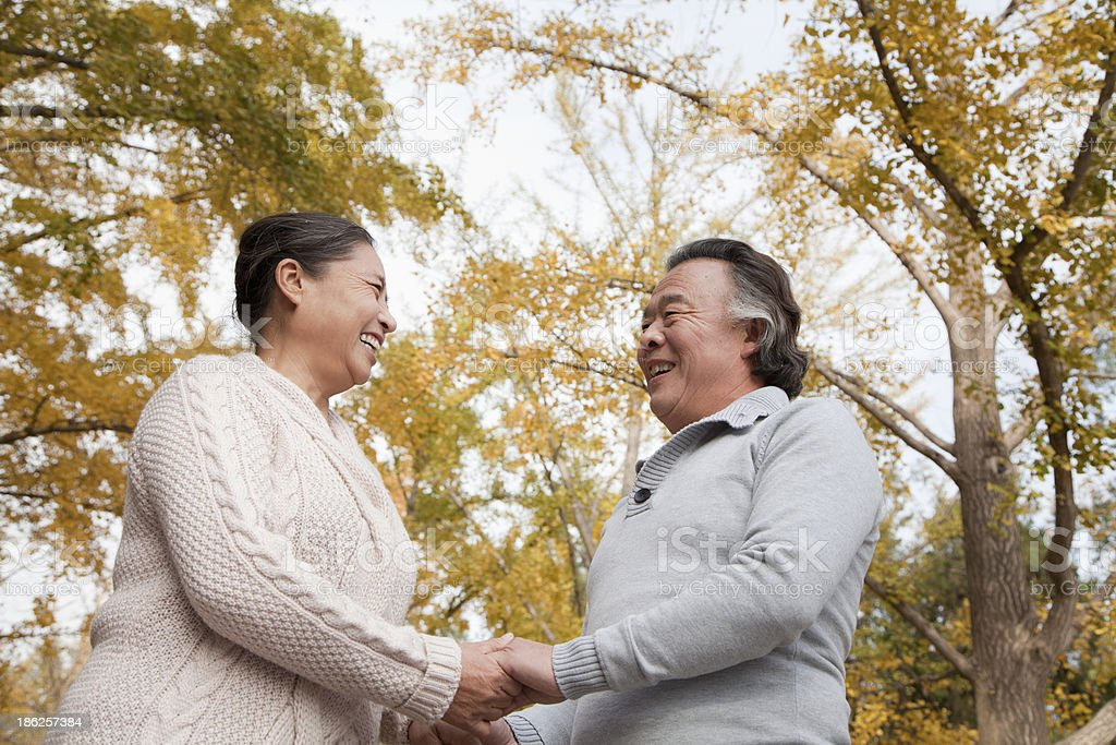 Old couple in park royalty-free stock photo