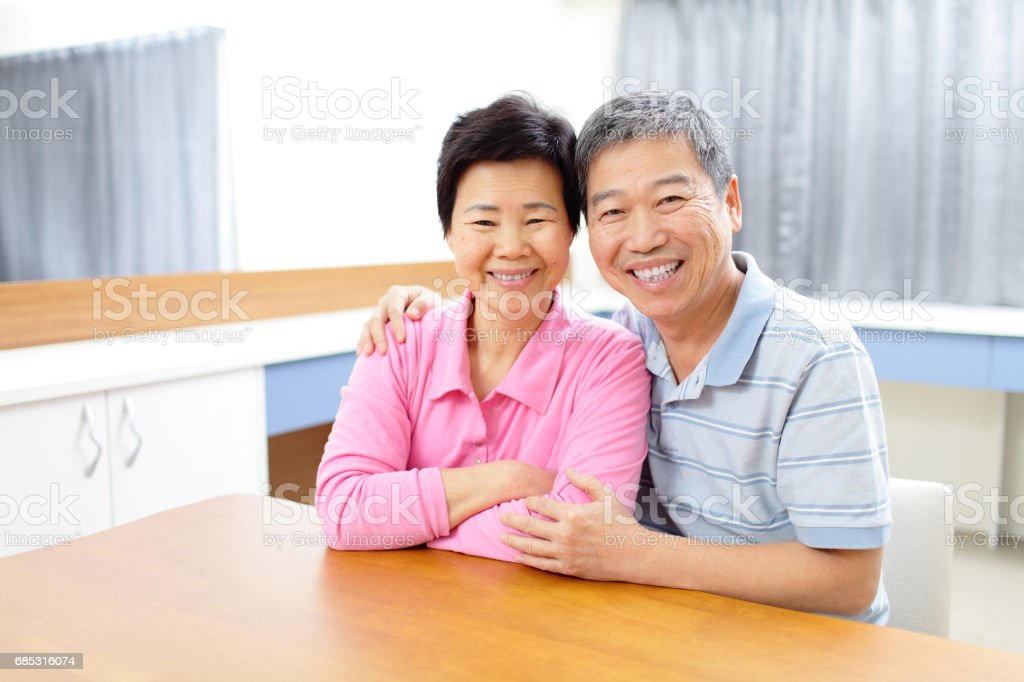old couple smile happily foto de stock royalty-free