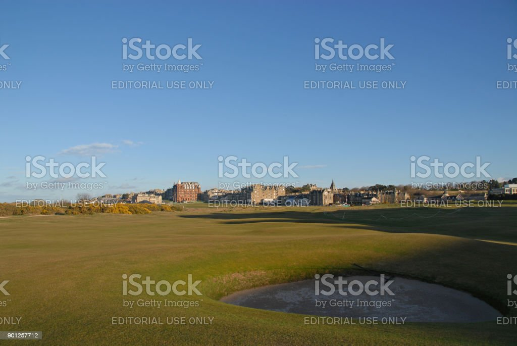 Old Course at sunset stock photo