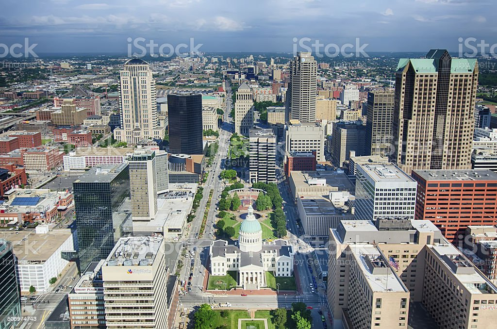 Old Court House surrounded by downtown St. Louis stock photo