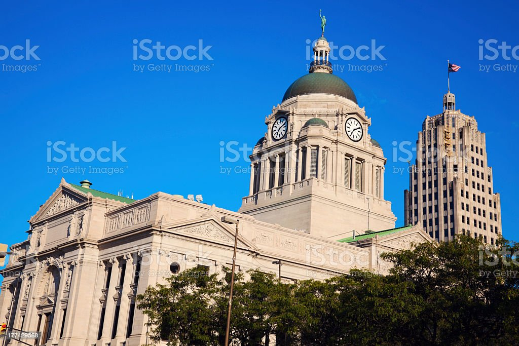 Old courthouse in the center of Fort Wayne stock photo