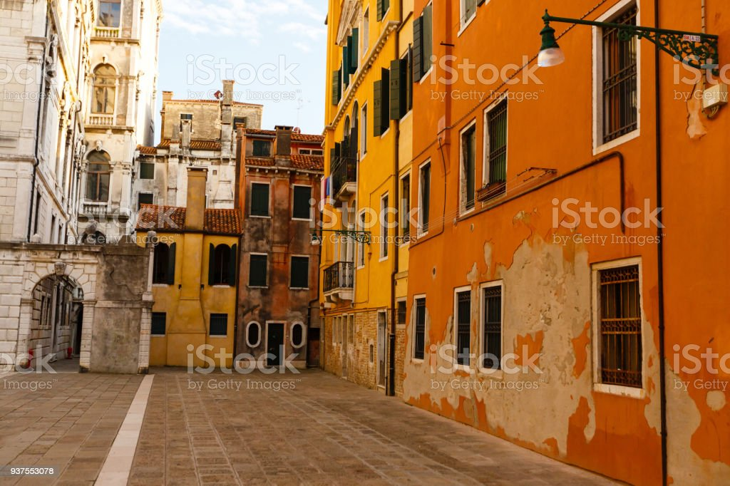 Old courtyard in venice stock photo